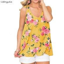 Hot Sales Summer Casual Multicolor Print V-neck Vest Top Women Clothes Sleeveless Loose Open Back Tank Tops Pullover Camis недорго, оригинальная цена