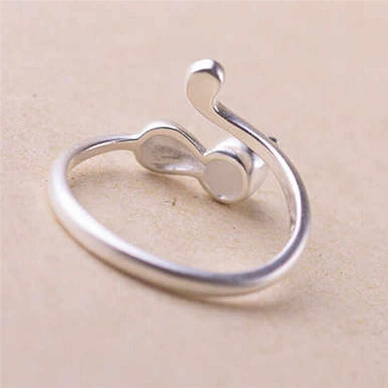 ปรับแหวนเงินผู้หญิงงูรูปร่างเปิดนิ้วมือแหวนแหวนหมั้นเครื่องประดับของขวัญวันวาเลนไทน์