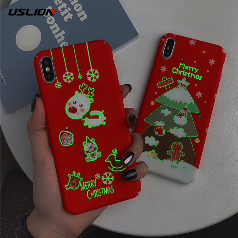 USLION Luminous Christmas Style Mobile Phone Cases Cover For Iphone X XR XS MAX 7 8 7Plus 6 6S Plus Santa Claus Hard Back