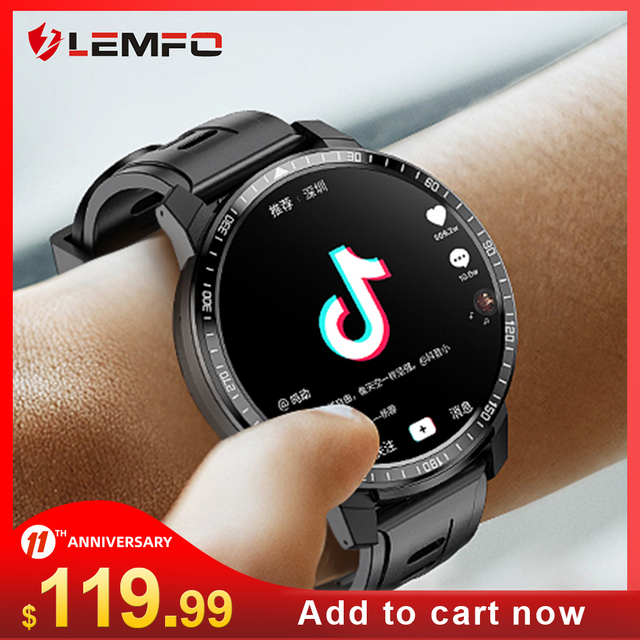 LEMFO LEM12 Smart Watch 4G 1.6 inch Full Screen OS Android 7.1 3G 32G  Face ID LTE 4G Sim Camera GPS WIFI Heart Rate Android Men 1
