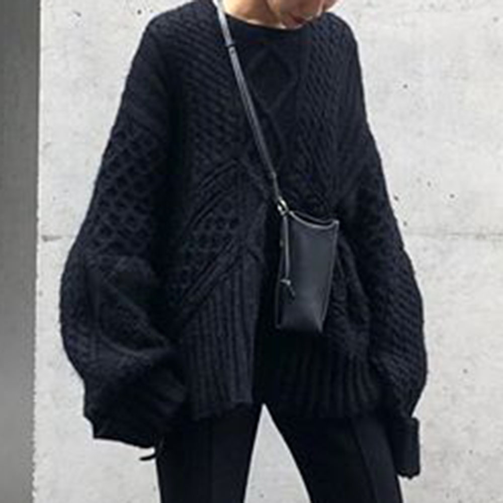 Loose Kintted Sweater Women Fall And Winter Causal Thick Warm Office Ladies Korean Oversized Black Jumper Harajuku Knitwear