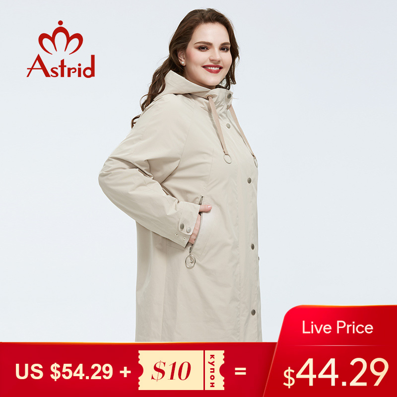 Astrid 2020 Spring New Arrival Trench Coat Outerwear High Quality Plus Size Long Fashion Style With Zipper Coat Women AS-9337