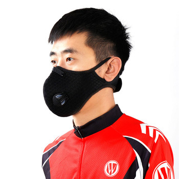 KN95 Men Cycling Face Mask Activated Carbon Sport Half Face Shield Washable MTB Bike Bicycle Dust Masks With Filter