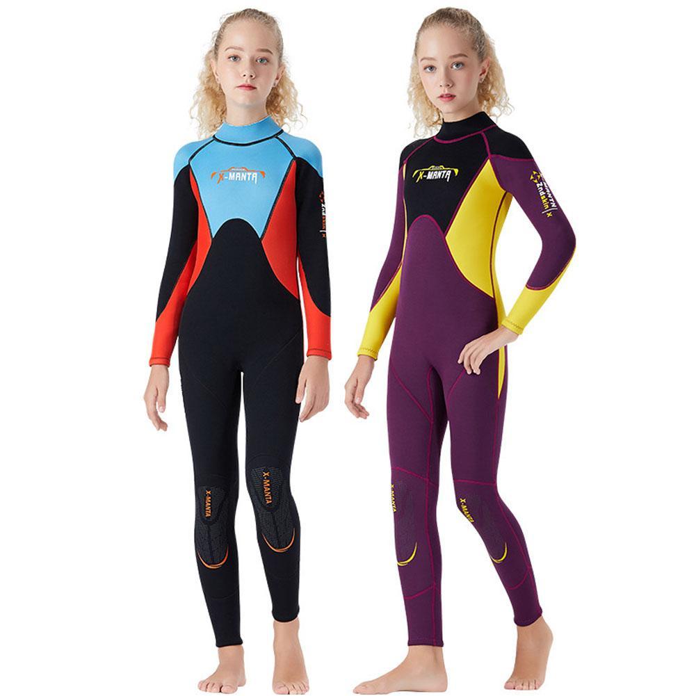 MeterMall 2.5mm jeunesse enfants combinaison Premium néoprène à manches longues jeunesse combinaison complète plongée sous-marine Surf costume pour filles garçons enfant