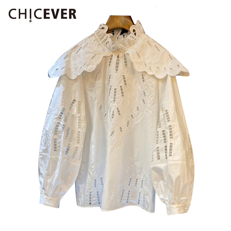 CHICEVER Patchwork Hollow Out  Women's Shirts Stand Collar Lantern Long Sleeve Casual Shirt Female 2020 Clothes Fashion New