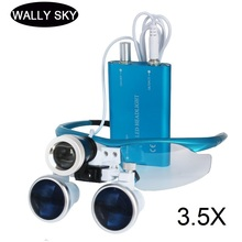 3.5X Medical Dental Loupes LED Magnifying Glasses with LED Head Light Lamp 420mm Dental Equipment Surgical Dentists Magnifier 2018 hot sell dental equipment 2 5x dental loupes dental surgical magnifying glass dental surgical loupes with asin