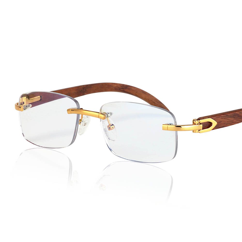Rimless Wooden Glasses Frame Men Optical Rim Eyeglasses Frames Women Anti-Blue-Light Lens Prescription Myopia Spectacles