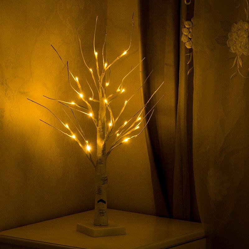 À piles 45cm 60cm LED blanc bouleau arbre nuit lumière de Table noël mariage chambre décoratif arbre Branches lampes