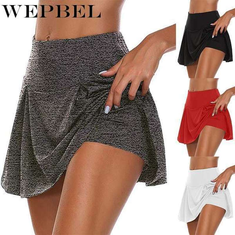 WEPBEL Women Summer Fashion Double-Layer Sports Shorts Quick-Drying Sports Leggings Fitness Skirt Plus Size S-5XL