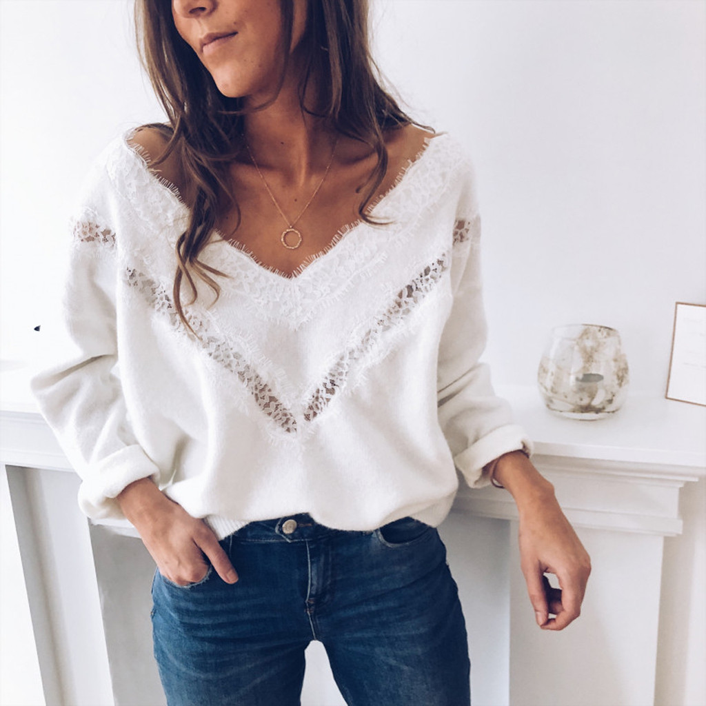 Winter Blouses for Women Fashion Winter Long Sleeve Knitted Sweater  V Neck Lace Slim Pullover Loose Blouse Tops B05