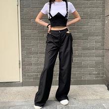 Женские готические брюки с вырезами по бокам на завязках высокой