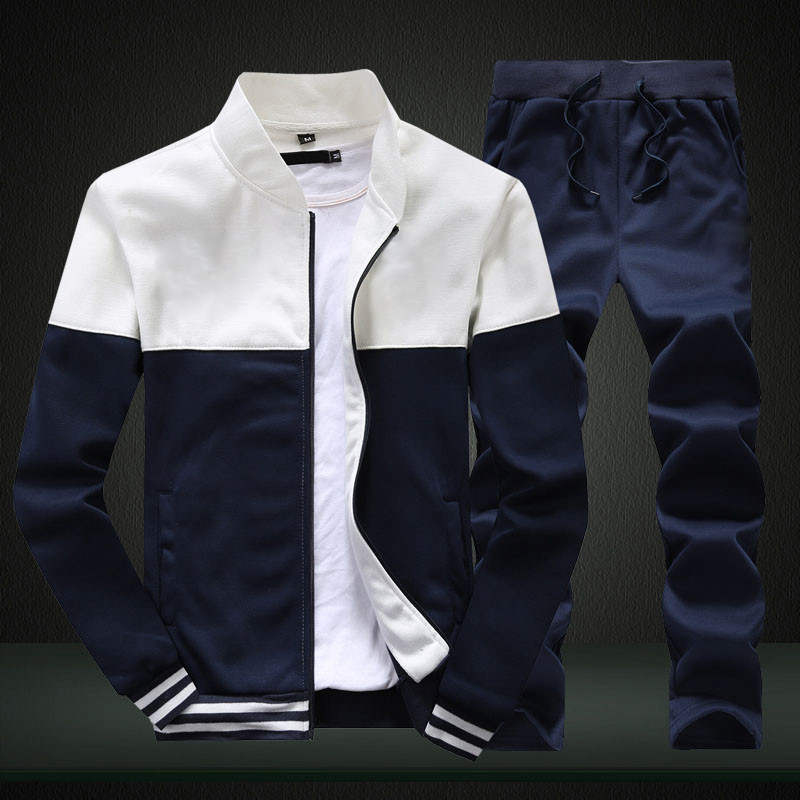 2019 New Men Sets Fashion Sporting Suit Brand Patchwork Zipper Sweatshirt +Sweatpants Mens Clothing 2 Pieces Sets Slim Tracksuit Pakistan