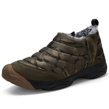 Mens Boots Warm Plush Men Snow Cloth Work Winter Shoes Camouflage Waterproof Ankle Size 36-46