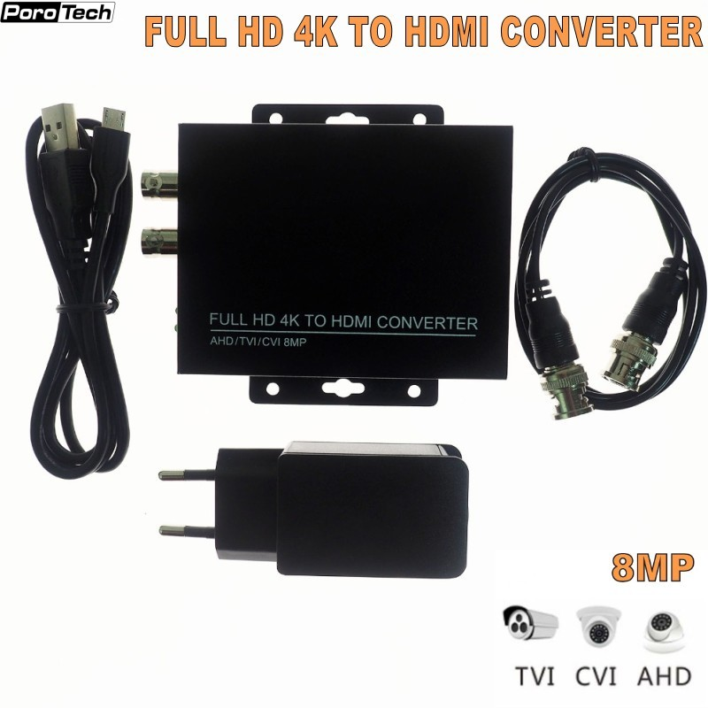2019 Newest 4K 720/1080P HDC-ADH 4-in-1 Resolution Supports CVI 8MP /TVI 8MP /AHD 8MP+CVBS To HDMI Converter Security Test