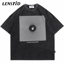 LENSTID Summer Men Oversize Washed Short Sleeve Tshirts Hip Hop Print Ripped T-Shirt Streetwear Harajuku Casual Cotton Tops Tees