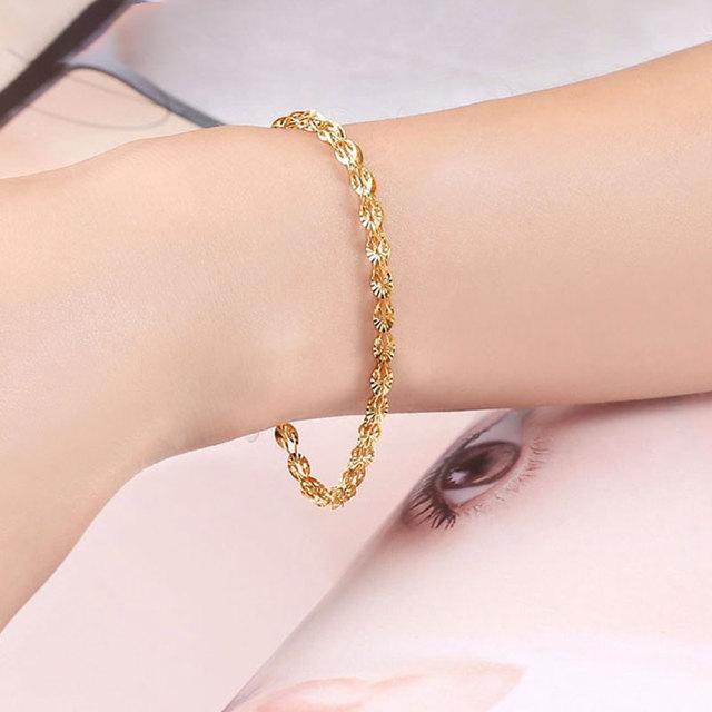 Glitzy Sparkling 18K True Solid Genuine Gold AU750 Yellow Phoenix Tail Chain Bracelet for Women Girl Party Fine Upscale Jewelry 4