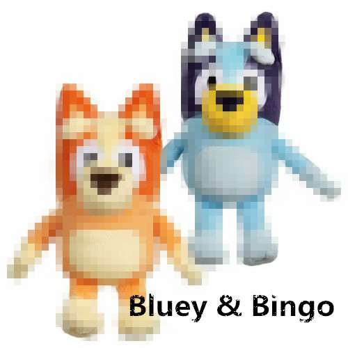2pcs/set 28cm Blue Dog Bandit Chili Heeler JUMBO Dog Friends TV Plush Movie Christmas Figure Toy Plush Stuffed Collectible Gift
