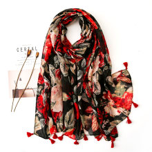 New Style Ink Flower Printing Tassel Viscose Silk Scarf Men's and Women's Super SunScreen Shawl Spring and Summer(China)