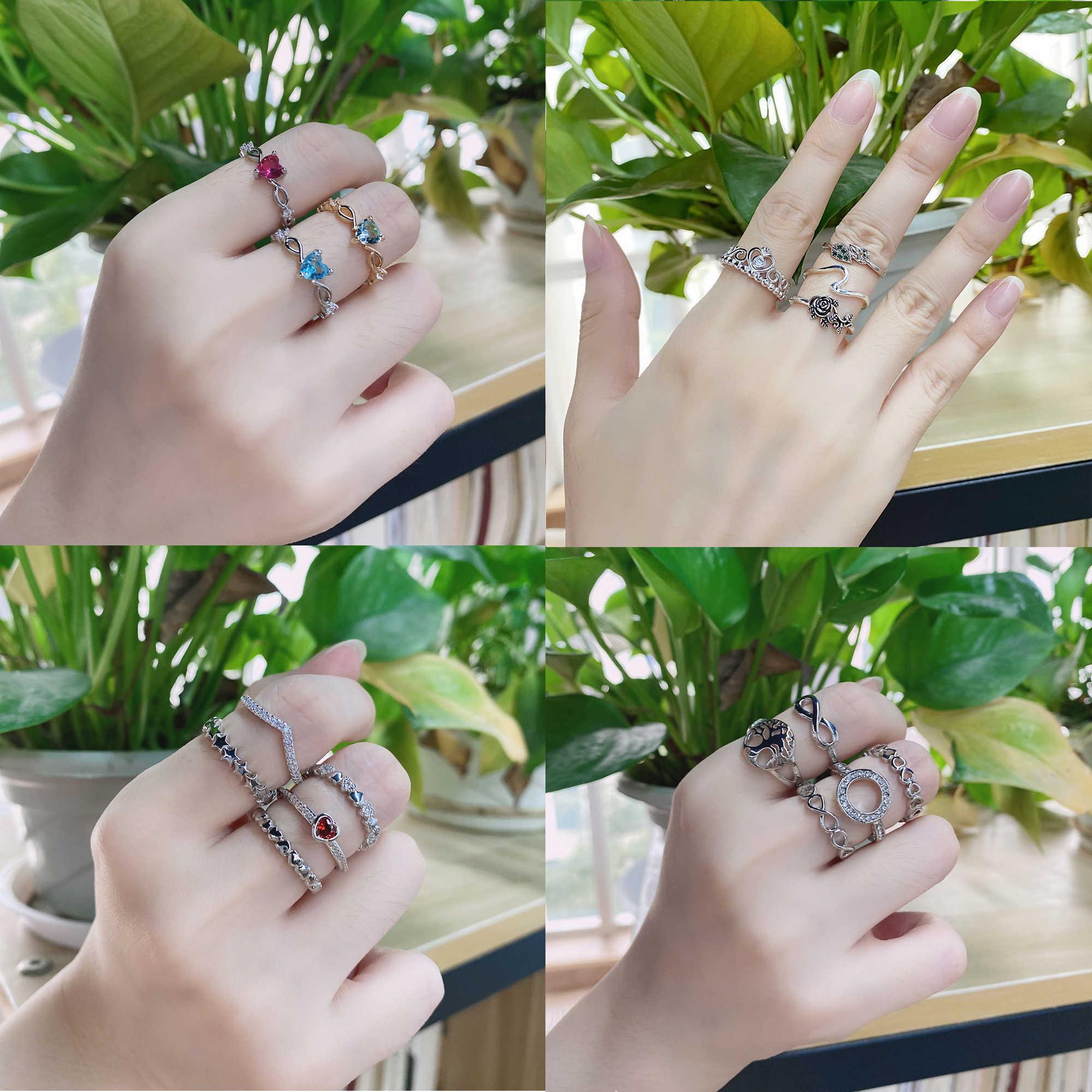 Nova moda cor de prata anel de cobre amor coração coroa anéis de dedo claro cz empilhável para mulheres jóias de casamento presente dropship