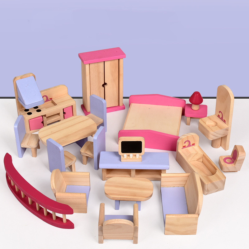 Wooden <font><b>Miniature</b></font> <font><b>Furniture</b></font> for dolls house dollhouse <font><b>Furniture</b></font> sets Educational house Play toys Children girls Christmas gifts image