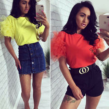 Women Boho Summer Mesh Tulle Beach Ruffle Puff Short Sleeve T-Shirt Lad