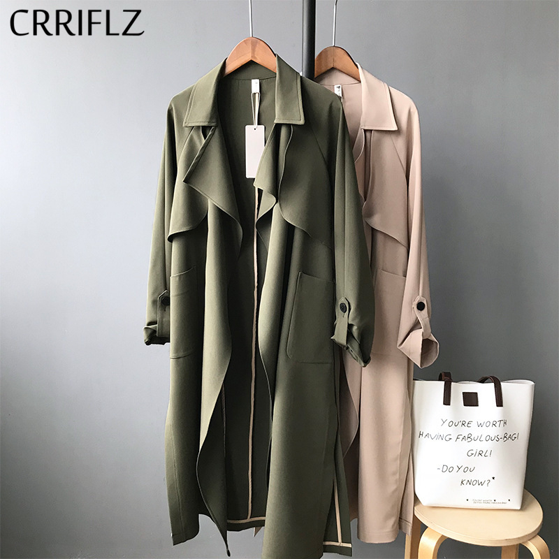 Spring Long Casual Trench Coat Women Full Length Sleeve Open Stitch Trench Outwear 2020 New CRRIFLZ(China)