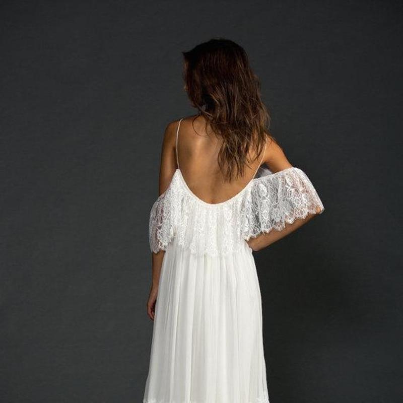 2018 Low Back Lace Featuring Thin Straps Fitted French Lace Bodice Boho Brides Vestido De Noiva De Renda Bridesmaid Dresses