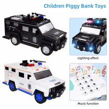 Banco de juguete de dibujos animados para niños, juguete de música inteligente con contraseña, billetes, coche banco de moneda, simulación de juego, ahorro de dinero, coches de policía