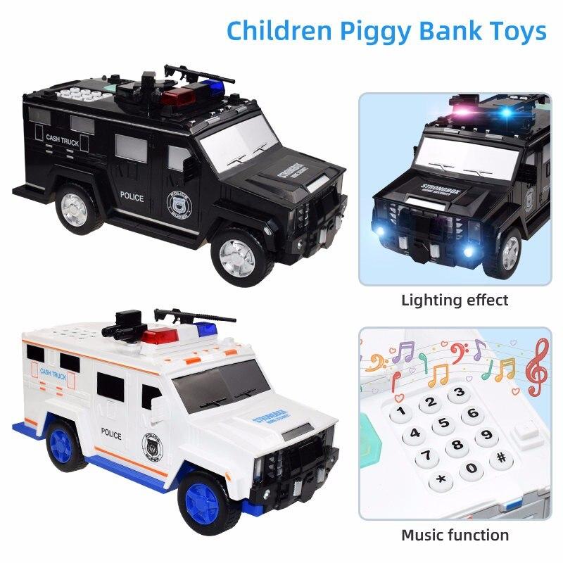 Hucha de juguete de dibujos animados para niños, Banco de juguete música inteligente, contraseña, billete, coche banco de moneda, juguete de imitación, juego de ahorro, caja de dinero, coches de policía