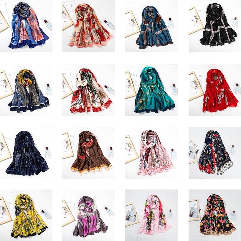 61 Colors Beach Women Scarf Super Sunscreen Seaside Holiday  Shawl Female Silk Scarf Pashmina Wrap Stole Poncho Ring Headband