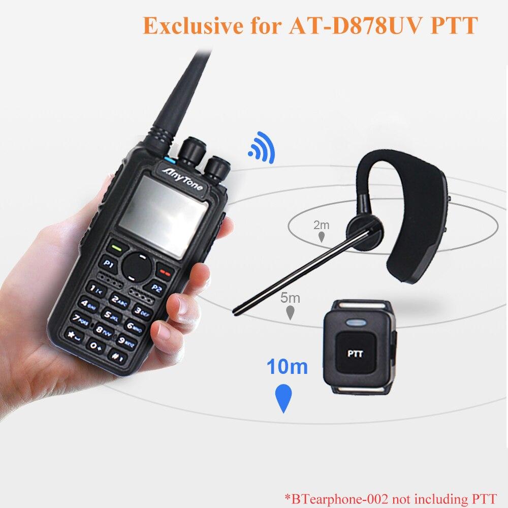 2020 New Bluetooth PTT Headset For Anytone AT-D878UV Plus DMR Digital Analog Walkie Talkie Dual Band GPS APRS Two Way Radio