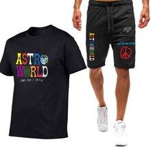 Высокое качество t-рубашка + шорты Трэвис Скотт пребывания алфавит печать дамы, мужчины бег брюки хип-хоп уличная одежда спортивные шорты