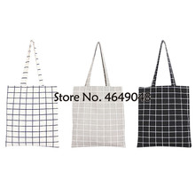 Women Student Cotton Linen Fashion Plaid Shoulder Tote Handbag Eco Shopping Large Capacity Canvas Purse Pouch  shopping bag
