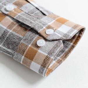 Image 4 - Erkek % 100% pamuk fırçalanmış flanel ekose damalı gömlek Casual uzun kollu standart fit düğme aşağı yakalı şemsiye Tops gömlek