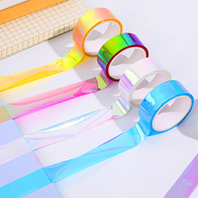 1PC 15mm 5m Laser Glitter Washi Tape Candy Colors Decorative Adhesive Masking Tapes For Scrapbooking Albums Stationery Tape