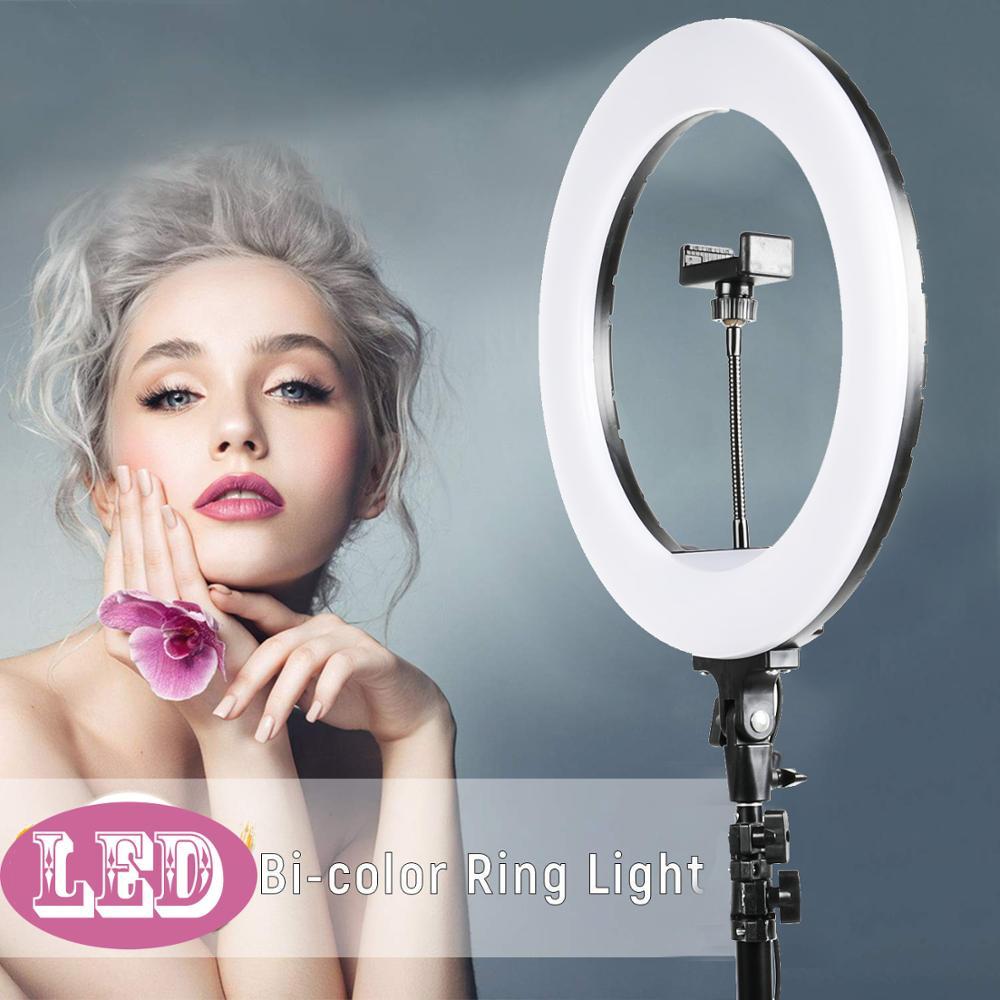 Светодиодная кольцевая лампа для селфи 14 ''36 см, лампа для макияжа, видео кольцо, 160 см, штатив для фотографии, селфи камера, Youtube, освещение для...