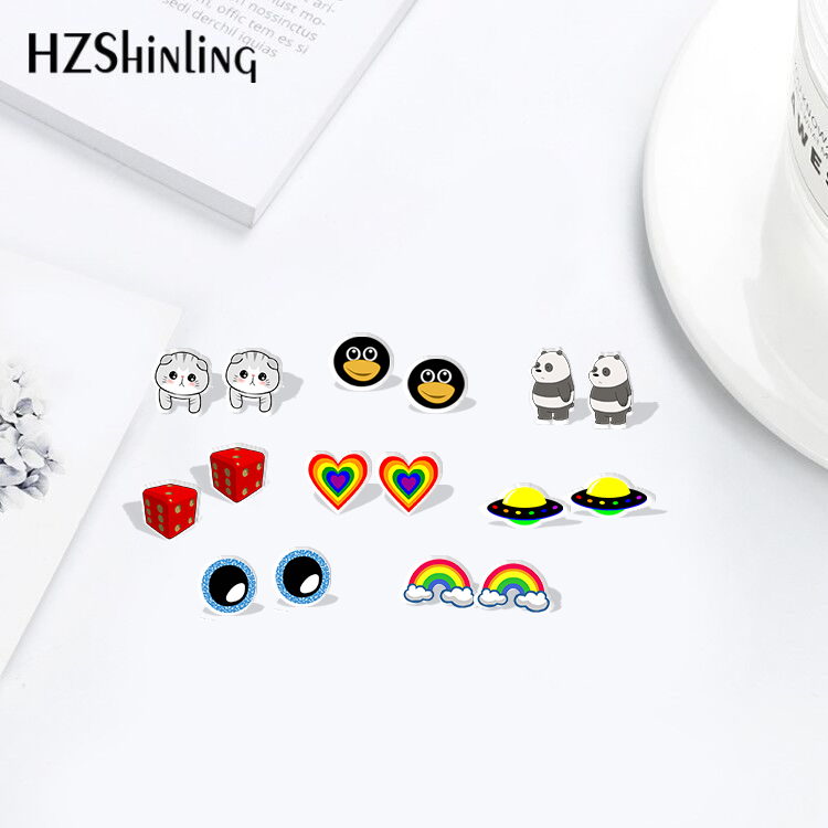 2019 New Fashion Rainbow Heart Dice Bears Acrylic Earrings Shrinky Dinks Earrings Resin Earrings Jewelry Epoxy