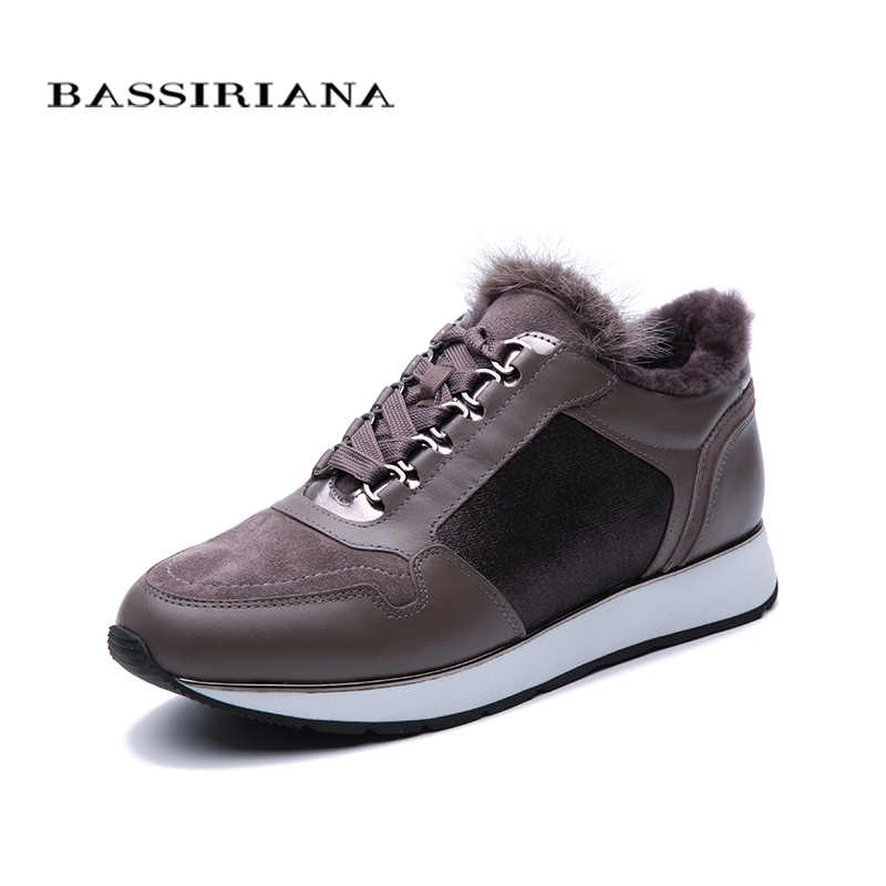BASSIRIANA 2019 new female sports shoes genuine fur leather suede stitching winter boots free shipping
