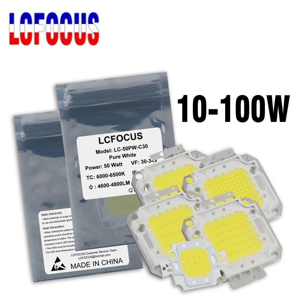 Светодиодный светильник высокой мощности с чипом COB, 10 Вт, 20 Вт, 30 Вт, 50 Вт, 100 Вт, теплый натуральный белый для самостоятельного использования,...