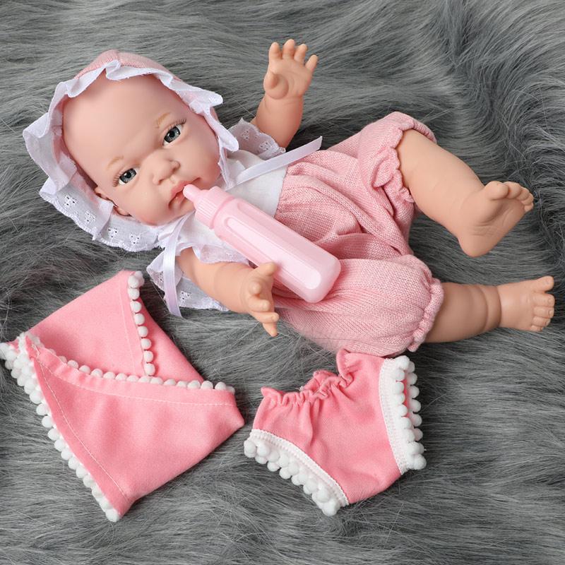 12 Inch Bebe Reborn Doll Full Body Silicone Waterproof Drop-resistant 30.5cm Realistic Newborn Baby Milk Bottle For Toys Kids