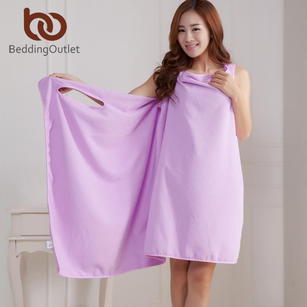 BeddingOutlet Microfiber Bath Towels Magic Quick Dry Absorbent Wearable Towel For Woman Lady 150x80cm Bathing Beach Wrap Skirt(China)