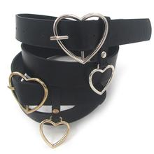 SANWOOD Fashion Female Faux Leather Metal Heart belt Pin Buckle Waistband Adjustable Accessory size 104 cm