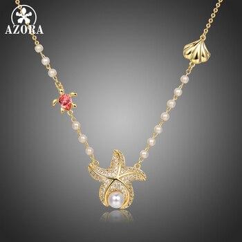 AZORA Fashionable Starfish & Tortoise & Shell Shape Pearl Pendant Necklaces for Women Accessories Jewelry Colgantes Gift TN0296
