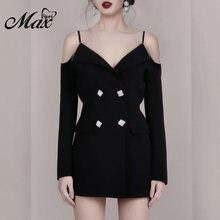 Женское облегающее мини платье max spri черное двубортное с