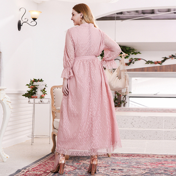 Siskakia Sweet Pink Lace Elegant Long Dress Plus Size Mandarin Collar Flare Long Sleeve Maxi Dresses Evening Party Spring 2020 2