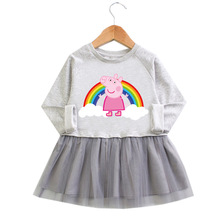 Original Peppa Pig Rainbow Pattern Cute Dress Autumn Child Girls Baby Page Cotton Pink Grey Color gauze Dress lovely cute 3d rabbit child baby girl cotton dress korean long sleeve autumn sweet kids children clothing pink grey red page 4