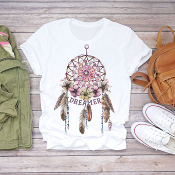 Summer 2020 Womens T Shirt Short Sleeve Tee Shirts Dream Feather Graphic Fashion Print Women Harajuku Tshirt Oversize Tshirts faux feather embellished solid tee