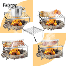 Portable Stainless Steel BBQ Grill Folding Mini Pocket Barbecue Accessories For Home Park Use for Camping