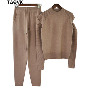 Image 3 - TAOVK Stylish Soft knit set warm womens knittwear open shoulder sleeves sweater loose pant suit 2 piece outfits for women 2019