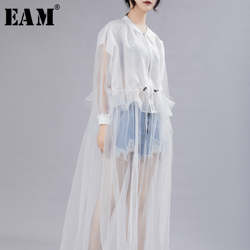[EAM] Women Dress New Stand Neck Long Batwing Sleeve Loose Fit Mesh Perspective Pleated Fashion Tide Spring Autumn 2020 JZ344